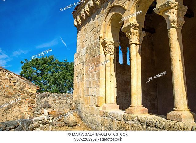 Detail of the facade of the Romanesque church. Sotosalbos, Segovia province, Castilla Leon, Spain