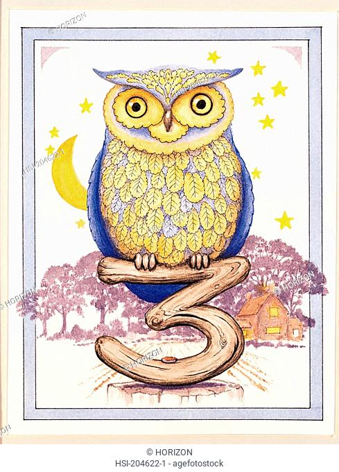 Artwork, Illustration, Birthday card, Animal, Bird, Owl, Age 3