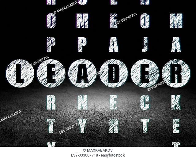 Finance concept: Glowing word Leader in solving Crossword Puzzle in grunge dark room with Dirty Floor, black background, 3d render