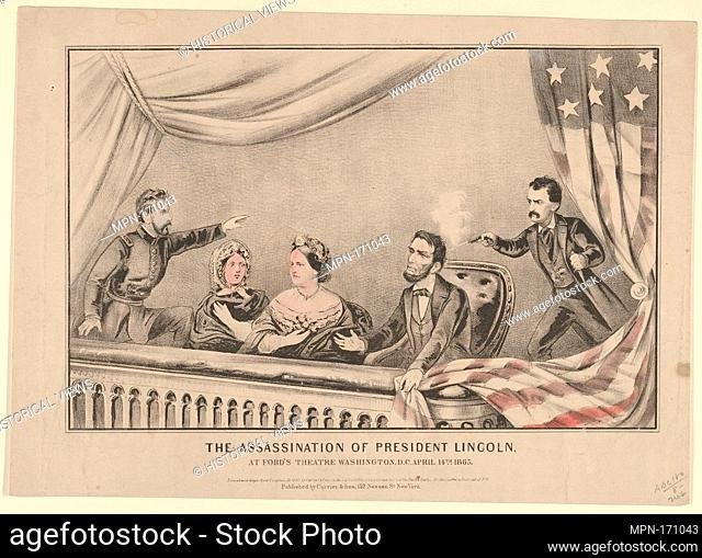 The Assassination of President Lincoln at Ford's Theatre, Washington D.C., April 14th, 1865. Publisher: Currier & Ives (American, active New York