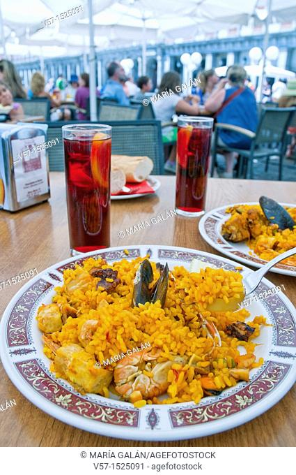Paella for two. Main Square, Madrid, Spain