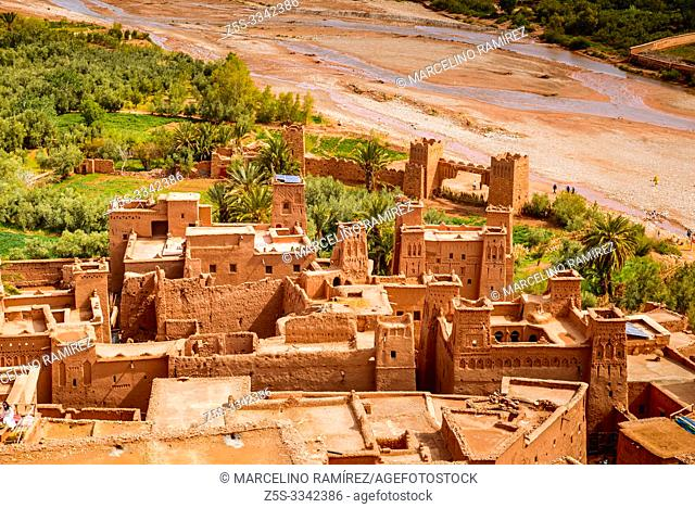 View from the top of the hill. Ksar Ait Ben haddou, old Berber adobe-brick village or kasbah. Ouarzazate, Drâa-Tafilalet, Morocco, North Africa