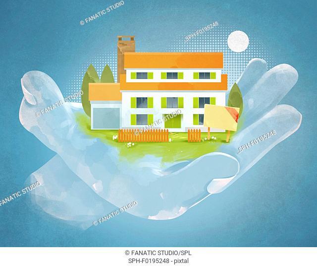 Illustration of hand holding house