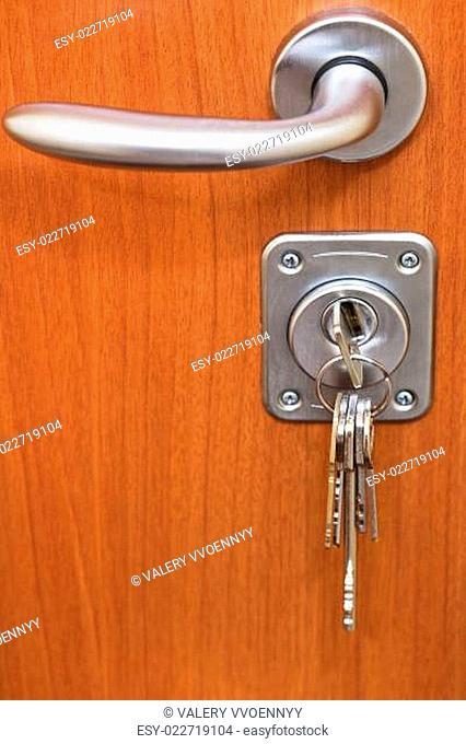 door handle and bunch of keys in keyhole