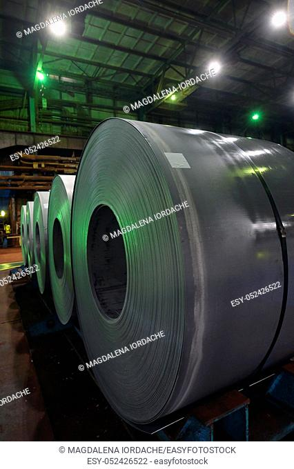 Steel coils rolled in the steel plant