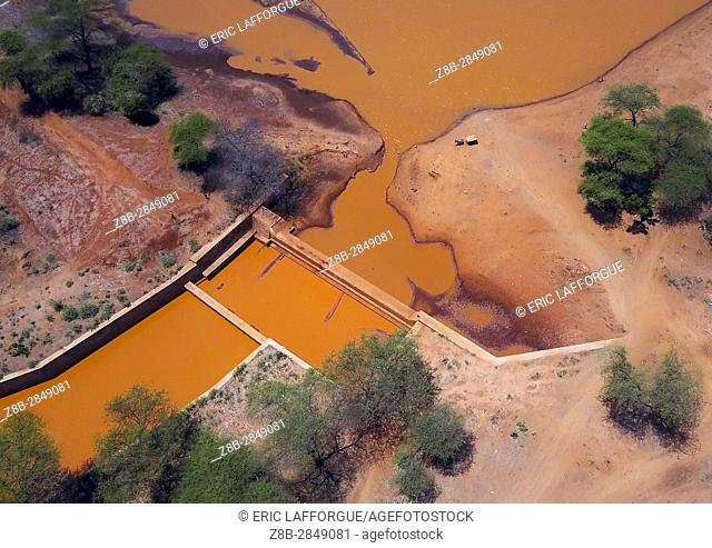 Aerial view of a water reservoir, Oromia, Yabelo, Ethiopia