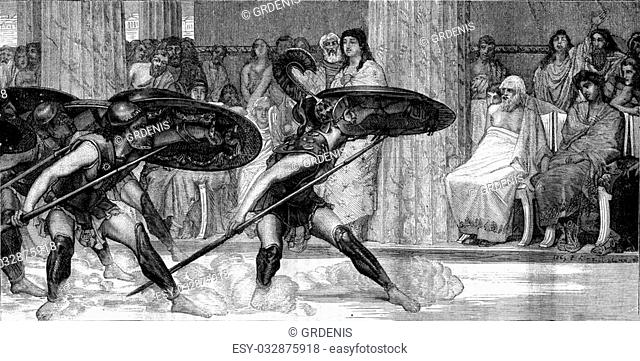 The Pyrrhic dance, painting by Alma Tadema, vintage engraved illustration. Magasin Pittoresque 1880