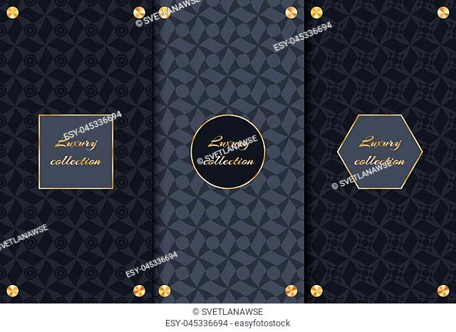 A set of luxurious backgrounds for the design of VIP goods, elegant packaging with gold frames and round elements