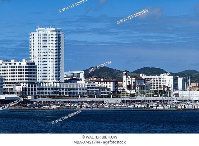 Portugal, Azores, Sao Miguel Island, Ponta Delgada, city skyline from the port