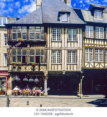 Half-timbered houses 'Place des Merciers' square Dinan Brittany France