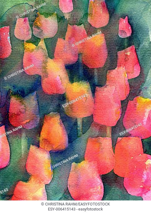 Red Tulips Texture. Abstract original watercolor background texture