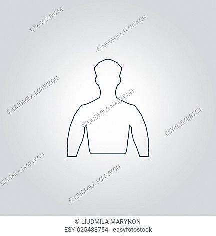 Silhouette man. Flat web icon, sign or button isolated on grey background. Collection modern trend concept design style vector illustration symbol