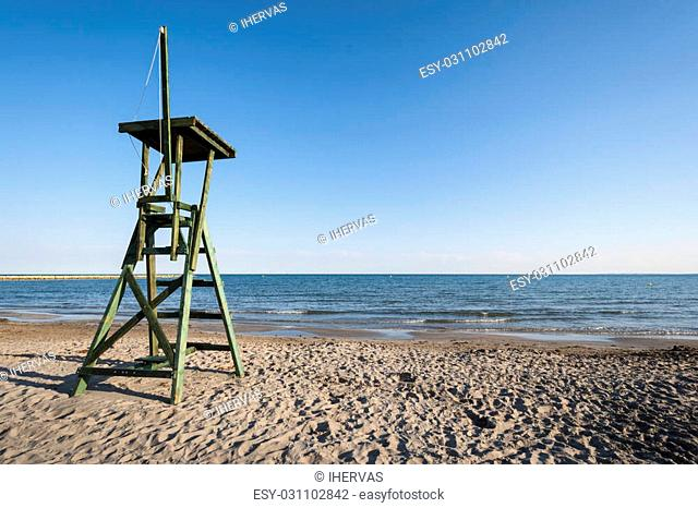 Lifeguard tower in the beach. Photo taken in Santa Pola, Alicante, Spain. It is a coastal town located in the comarca of Baix Vinalopo
