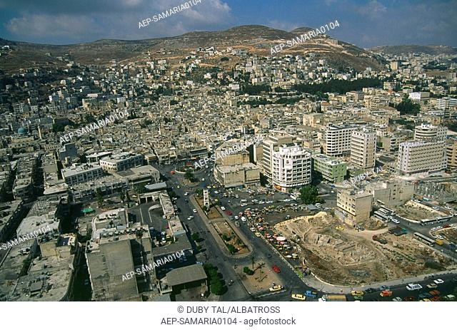 Aerial photograph of the Palestinian city of Nablus in the West Bank