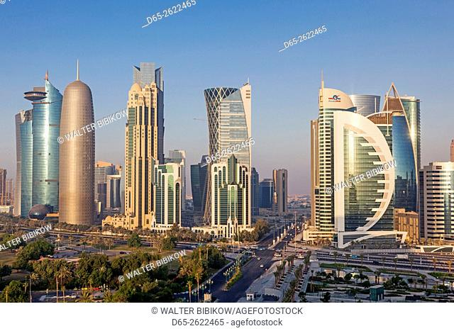 Qatar, Doha, Doha Bay, West Bay Skyscrapers, elevated view, dawn