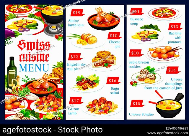 Swiss cuisine menu vector template alpine lamb loin, cheese pie, engadinsky nut pie. Ragu salmi, grizon lamb, busseco soup, raclette with potatoes