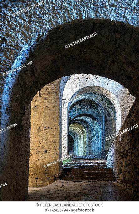 Interior arched passageway in the castle at Gjirokastra in southern Albania