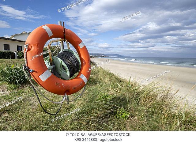 salvavidas, playa de Acantilado, Remior, Lugo, Galicia, Spain
