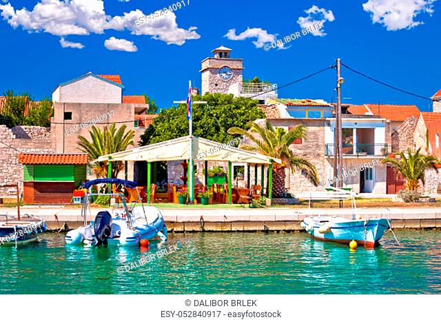 Colorful waterfront of Krapanj island, sea sponge harvesting village, Sibenik archipelago of Croatia