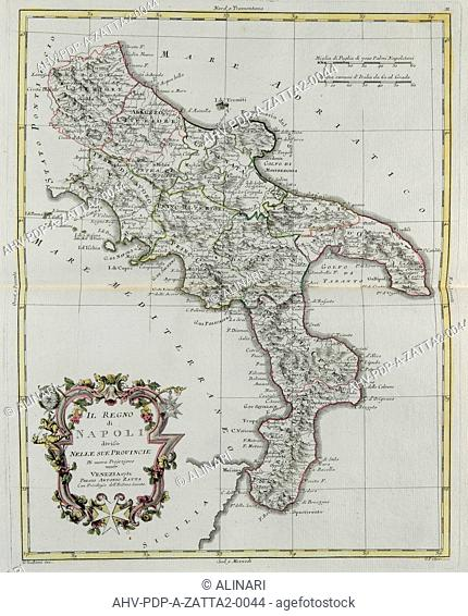 Kingdom of Naples divided into its provinces, engraving by G. Zuliani taken from Tome II of the Newest Atlas published in Venice in 1781 by Antonio Zatta