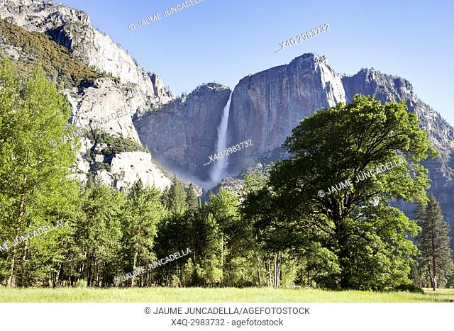 Yosemite falls in Yosemite Valley. California, USA