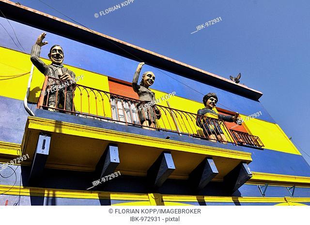 V.l. Carlos Gardel, Evita Peron, Diego Maradona, cardboard cut-outs on a balcony in the dock area La Boca, Buenos Aires, Argentina, South America
