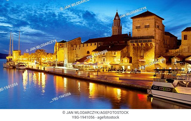 Croatia - Trogir by night, seafront harbor in the Old Town in Trogir, Dalmatia, Croatia, UNESCO
