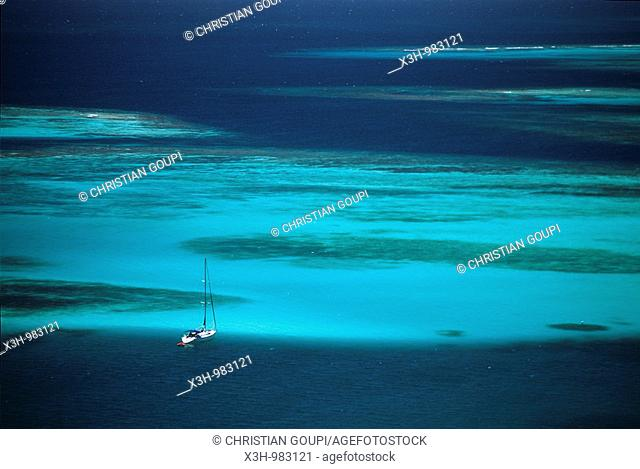 sailing boat lied at anchor,Mayreau,Grenadines islands,Saint Vincent and the Grenadines,Winward Islands,Lesser Antilles,Caribbean Sea