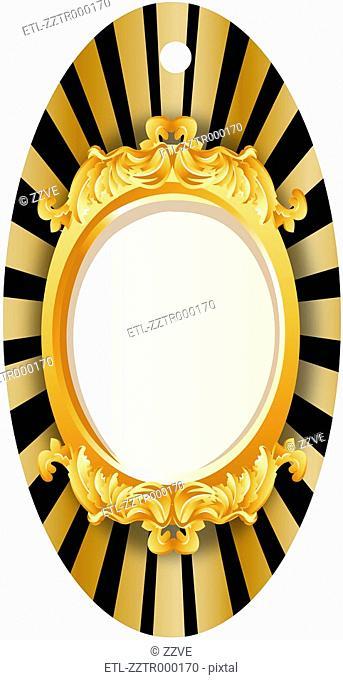 Ornamental mirror on white background