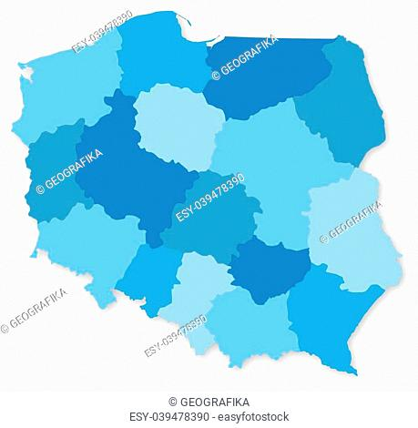 Blue map of Poland with voivodeships on white projected in UTM coordinate system