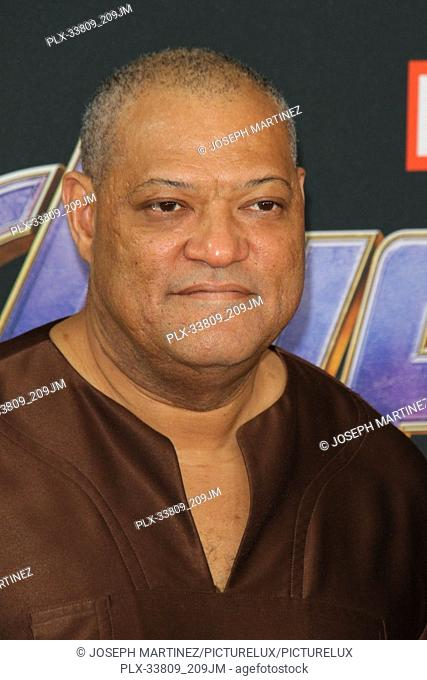 """Laurence Fishburne at The World Premiere of Marvel Studios' """"""""Avengers: Endgame"""""""" held at the Los Angeles Convention Center, Los Angeles, CA, April 22, 2019"""