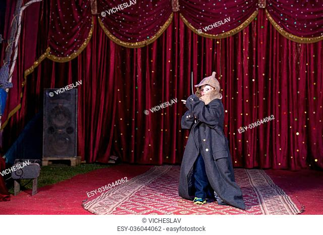 Young Boy Wearing Clown Make Up, Hat and Over Sized Coat and Holding Sword on Stage with Red Curtain