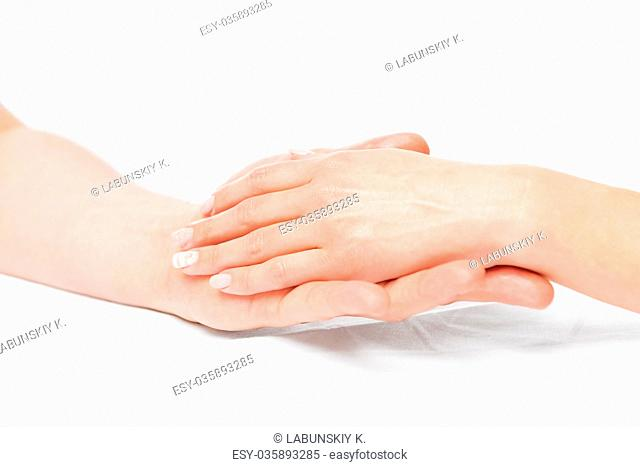 Professional hand massage in salon, close up hands