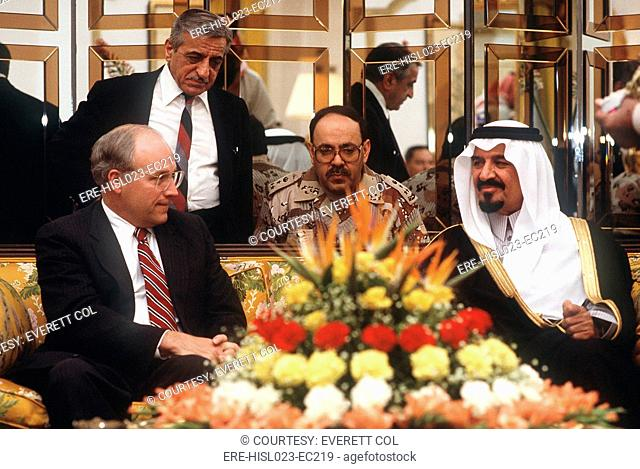 Secretary of Defense Dick Cheney meets with Prince Sultan Minister of Defense and Aviation of Saudi Arabia on Dec 1. 1990