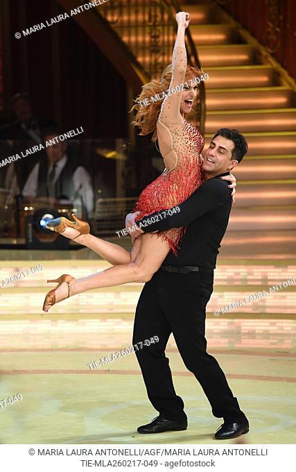 Alessandra Tripoli with Simone Montedoro during the tv show Ballando con le stelle, Rome, ITALY-25-02-2017