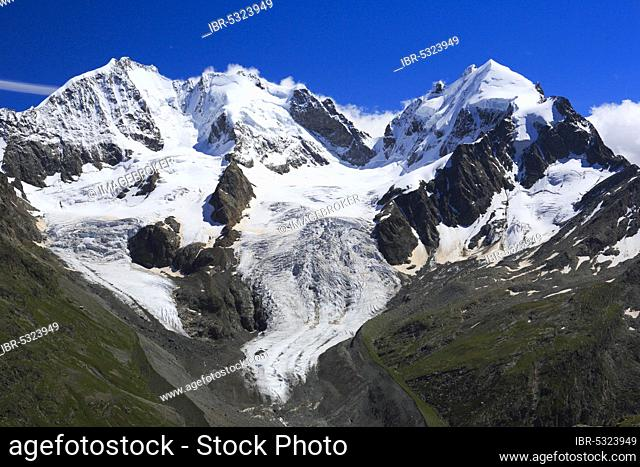Piz Bernina, 4049 m, Bianco ridge, Piz Roseg, 3937 m, view from Fuorcla Surlej, Graubuenden, Switzerland, Europe