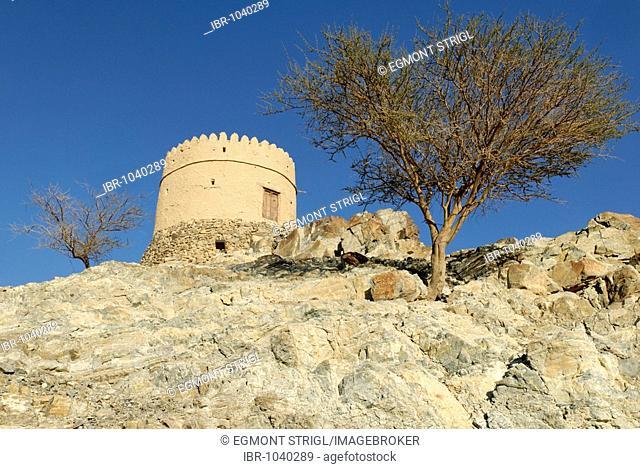 Historic guard tower in the Hatta Oasis, Emirate of Dubai, United Arab Emirates, Arabia, Near East