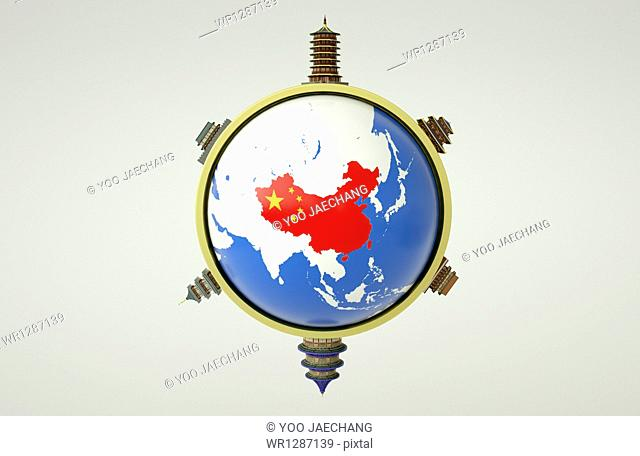 a globe with Chinese map