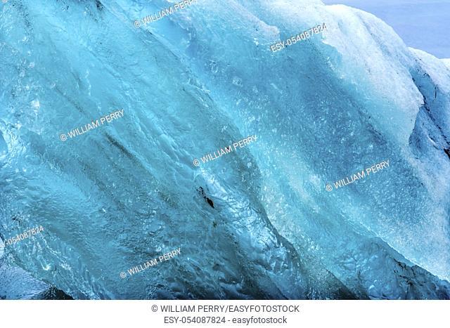 Light Blue Large Iceberg Close Up Diamond Beach Jokulsarlon Glacier Lagoon Vatnajokull National Park Iceland. Ice from Breioamkurjokull Glacier