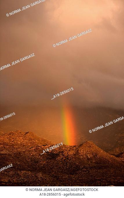 A rainbow develops over the Santa Catalina Mountains, Sonoran Desert, Coronado National Forest, Oro Valley, Arizona, USA