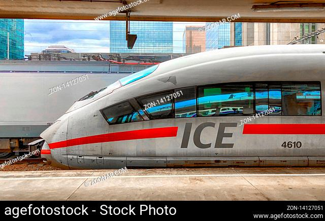 Brussels, Belgium - June 2018: ICE train between Netherlands and Germany at a platform in the Brussels North railway station