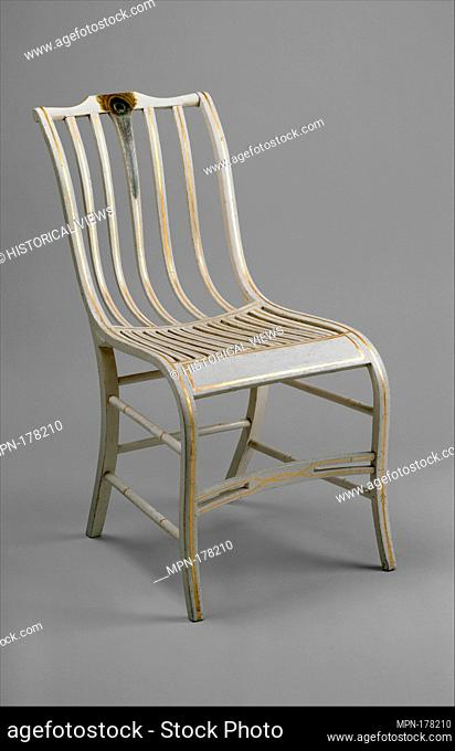 Side Chair. Maker: Samuel Gragg (1772-1855); Date: ca. 1810; Geography: Made in Boston, Massachusetts, United States; Culture: American; Medium: Ash or...