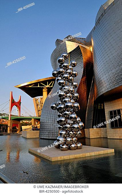Guggenheim Museum, evening light, architect Frank Gehry, Tall Tree and The Eye by Anish Kapoor, sculptures, Bilbao, Basque Country, Spain