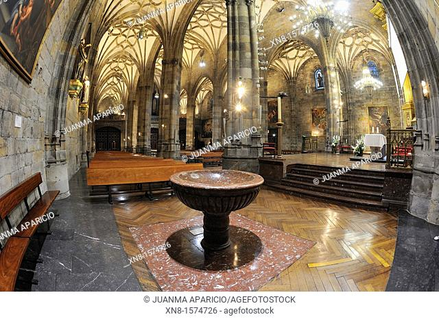 Inside the Basilica of Begoña in Bilbao with fisheye, Basque Country