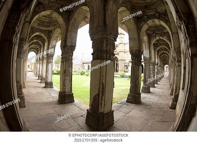 Lobby and Minars. Fisheye view. Jami Masjid or Mosque. Champaner Pavagadh Archaeological Park. UNESCO World Heritage Site. Gujarat. India