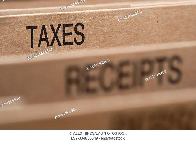 Tax section tab in folding file