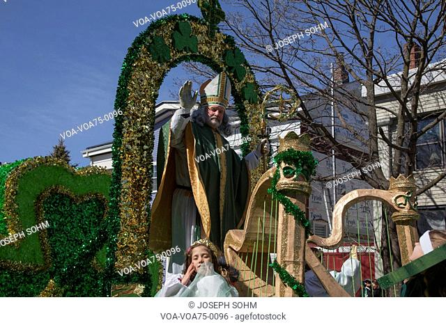 St. Patrick blessing crowd, St. Patrick's Day Parade, 2014, South Boston, Massachusetts, USA