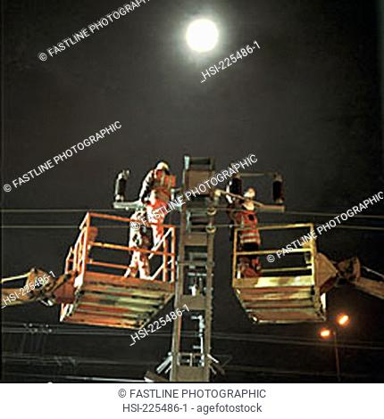 track worker, railways, transport, maintenance, night, moonlit, moonlight, night working, overhead wiring, power cables, power lines, cable, engineering