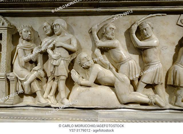 Reliefs on the marble ark of Beato Bertrando di San Genesio, Udine Cathedral, Udine, Friuli Venezia Giulia, Italy, Europe