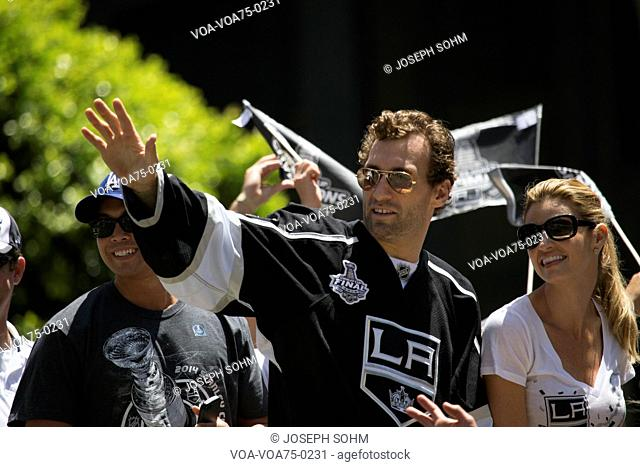 Jarret Stoll and girlfriend Erin Andrews at LA Kings 2014 Stanley Cup Victory Parade, Los Angeles, California, USA